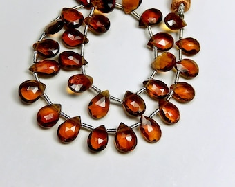 AAA Hessonite (Garnet) Gemstone Bead. Semi Precious Gemstone. Faceted Pear Briolette, 8-9mm. Pairs or Individually  (52hes)