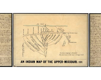 Antique Indian Map of the Upper Missouri River; Blackfoot Native Americans,1801