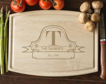 Custom Engraved Cutting Board, Personalized Cutting Board, Monogram, Wedding Gift, Anniversary, Bridal Shower Gift, Kitchen Decor #3009