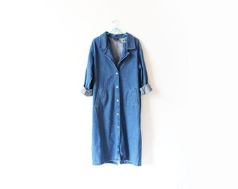 vintage coat 90's denim trench jacket minimalist outerwear 1990's women's clothing size medium m