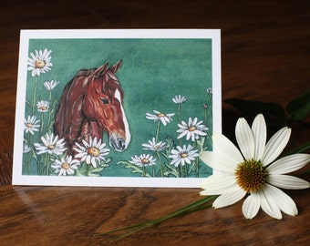 Horse with Daisies Blank Greeting Card