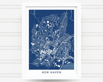 NEW HAVEN CONNECTICUT Map Print - Home Decor - Office Decor - New Haven Art - Poster - Wall Art - Yale University Gift - New Haven Gift