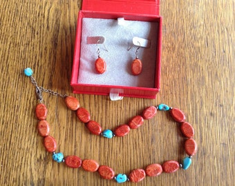 Red Turquoise Necklace Earrings Set