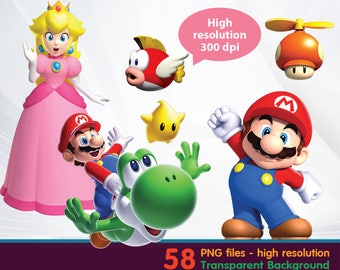 Mario clipart -  Digital 300 DPI PNG Images, Photos, Scrapbook, Cliparts - Instant Download