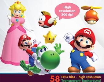 Mario clipart -  Digital 300 DPI PNG Images, Photos, Scrapbook, Cliparts - Instant Download