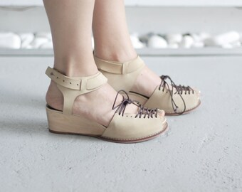 SINDRI - Cream Color - FREE SHIPPING Handmade Leather Shoes