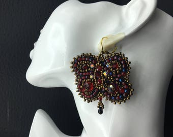 hand embroidered butterfly earrings