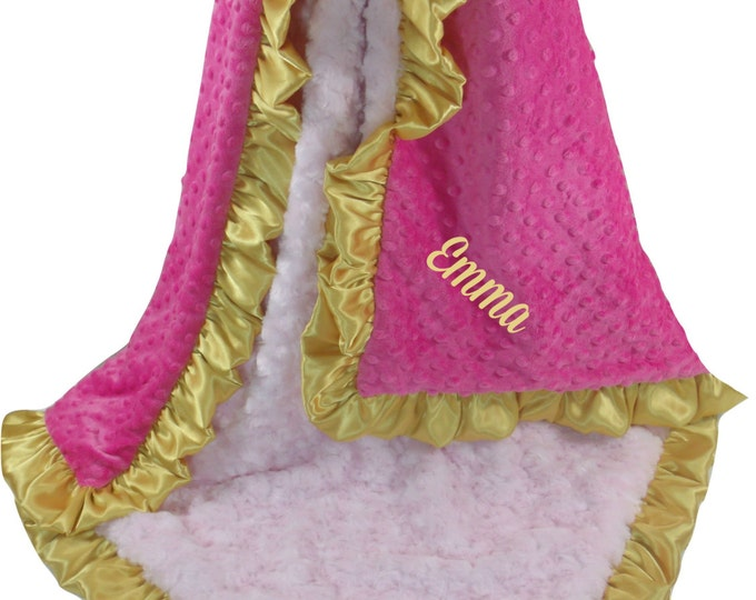 Gold and Fuchsia Pink Dot, White Rose Swirl Minky Baby Blanket, 3 sizes