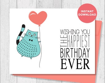 Printable Card - Instant Download - Digital Template - Note Card - Includes Printable Envelope A2 - Happy Birthday Cat with Balloon - G9
