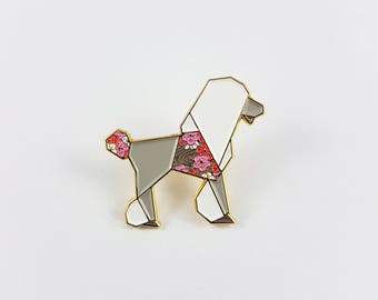 Poodle Gift,Origami Poodle Soft Enamel Pin,Poodle Enamel Pin,Origami Jewelry,Enamel Pins,Origami Pin,Poodle Lover,Poodle Pin,Standard Poodle