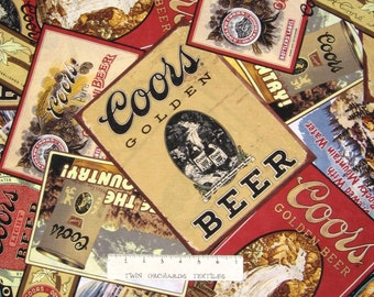 Adult Fabric - Coors Golden Beer Brewing Labels Toss Sepia - Springs YARD