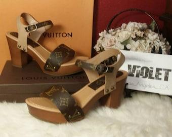 Louis Vuitton re-purposed canvas customized heel