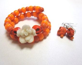 Orange Skull Bracelet And Earring Set White Rose Day Of The Dead Jewelry