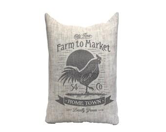 """farm pillow, market pillow, farmhouse pillow, farmhouse decor, animal pillow, """"The Farm to Market"""""""