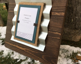 Wood Picture Frame with Burlap and Corrugated Metal, 5 x 7 Frame