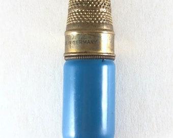 Antique Sewing Kit Needle Case Blue Enamel