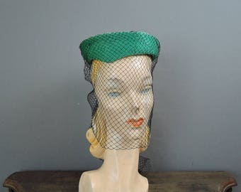 Vintage Topper Hat With Face Veil, Tilt 1950s Green Plush Felt with Black Veil, Custom Millinery Bullock's Wilshire
