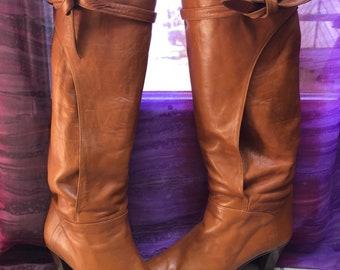 Vintage cogac leather wrap and tie sz 7Narrow boots, stacked heel British tan color wrap tie high leather boots, sz 7N rust leather boots