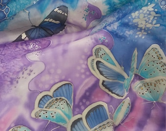 Long Silk scarf unique handmade Deep purple blue-purple butterflies Gift for birthday,Mothersday,Graduation gift