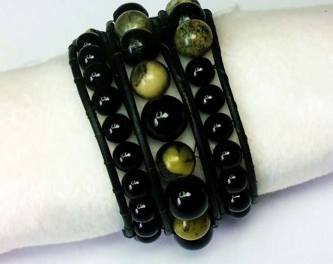 Triple Wrap Bracelet - Serpentine Bracelet - Green and Black Bracelet - Adjustable Bracelet - Unisex Bracelet