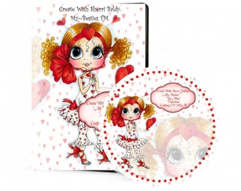 CD ROM Create With Sherri Baldy Violet Valentina Digital Digi Stamps Color images Card toppers 100s of Images Big Eyed Art My Besties