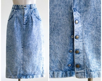 1980s long acid wash skirt
