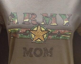 Army Mom Bling Rhinestone T-Shirt