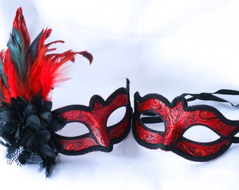 Red and Black phantom his and hers couples masquerade masks for masquerade ball parties, Masquerade mask with feathers
