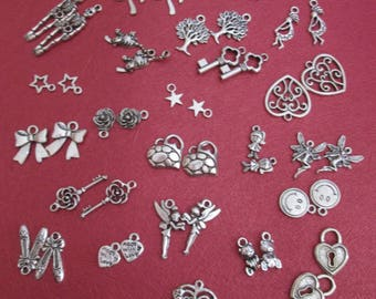 x 50 silver charms mixed 25 different patterns #2