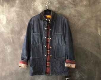 1950s Carter Chore Jacket Distressed Blanket Lined Americana Union Made Barn Jean Denim Jacket Mens Size S/M, Ladies M/L
