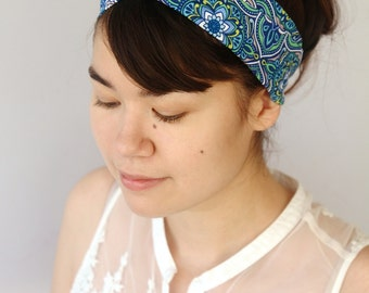 Blue Turban Headband, Floral Turband, Boho Twist Headband