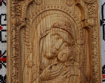 Christian Christmas gift Virgin Mary and Baby Jesus Wooden carved religious wall art orthodox  Icon engraved icon christmas decoration