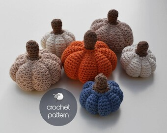 3 Pumpkin Halloween Set - Amigurumi Crochet Pattern (PDF file), 3 different sizes and textures