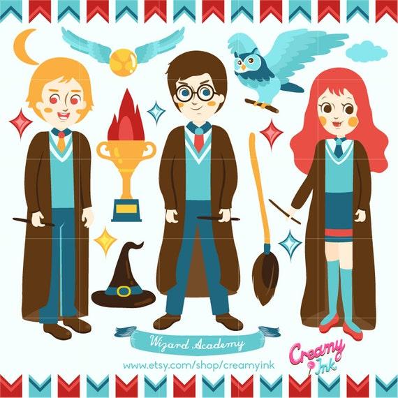 Harry Potter Digital Vector Clip Art Wizard Clipart Design