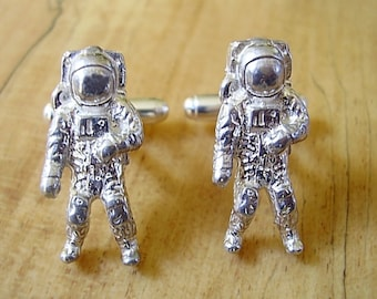 One Pair Large Sterling Silver Spaceman Astronaut Cufflinks In Presentation Box