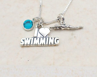 I Love Swimming Necklace Sterling Silver Heart Swimmer Charm Pendant Swarovski Crystal Accent