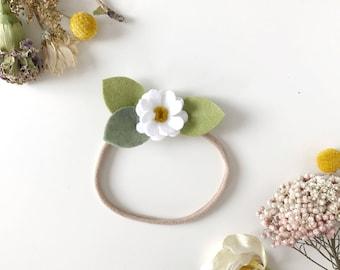 Newborn Headband, Felt Flowers, White Daisy, giddyupandgrow