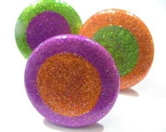 """Sparkly Glitter CABINET KNOBS HARDWARE Dresser Drawer Pulls 2"""" Round Knobs"""