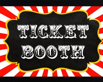 "Printable DIY Vintage Chalkboard Circus Ticket Booth Table Printable sign - 8.5"" x 11"" INSTANT DOWNLOAD"