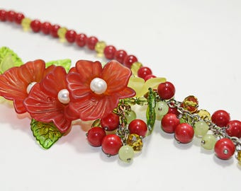 Red Green Yellow Beaded Flower Chain Necklace Coral Natural Freshwater Pearl Cluster Funky Boho Floral Statement Jewelry Mothers Day Gift