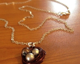 Bird's Nest Silver and Bronze Necklace