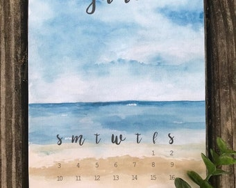 Beach Watercolor Print || Beach Mini Calendar || Bullet Journal Print || Bujo Calendar || Mini Calendar || Home Decor