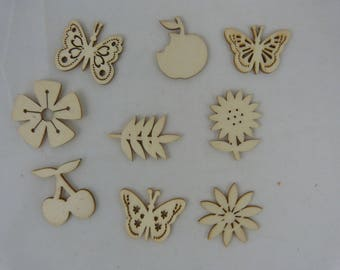 Wooden subjects embellishment: fruits, flowers and butterflies