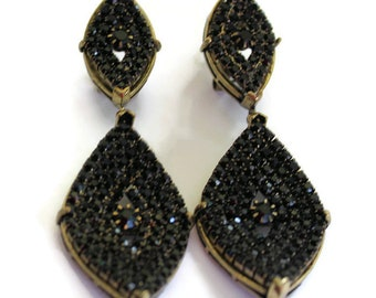 Roman Luxe Gold With Black Rhinesone Drop Earrings Statement Jewelry Gold Earrings