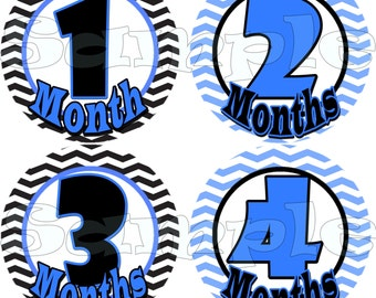 Monthly Stickers Baby Shower gift 1- 12 Month Baby stickers Infant Milestone stickers Onepiece Month to Month Stickers Zigzag Black decals