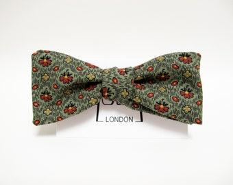 Dark Forest Green floral bow tie