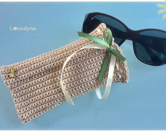 Crochet glasses case cotton beige ribbons green and beige-gift for a birthday party - for all Crochet ribbons - Hand Made Glasses Case