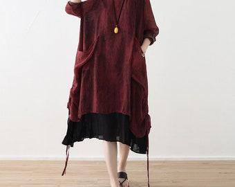 Asymmetrical tunic dress spring dress chiffon dress with two pieces loose lightweight dress maxi dress maternity clothing plus size dress