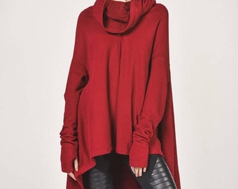 SALE NEW Burgundy Extravarant Asymmetrical Top / Cotton Warm  Top  extra high collar pullover woth thumb holes Handmade  by Aakasha A08624