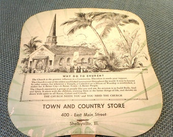 Town And Country Store Shelbyville, Illinois Advertising Paper Fan - Vintage Promotional Item